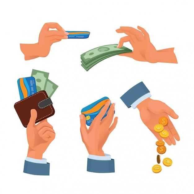 Monete, carte bancarie e dollari in mano. set di foto di denaro Vettore Premium