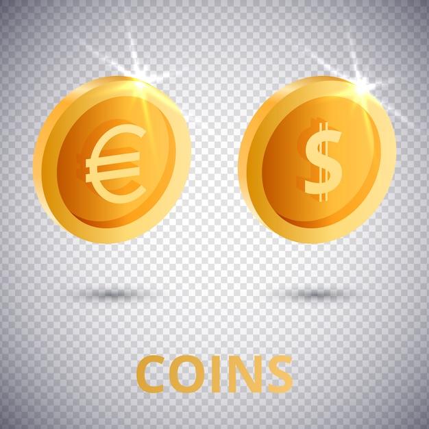 Monete d'oro 3d dollaro ed euro Vettore Premium
