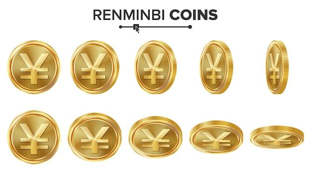 Monete d'oro 3d renminbi Vettore Premium