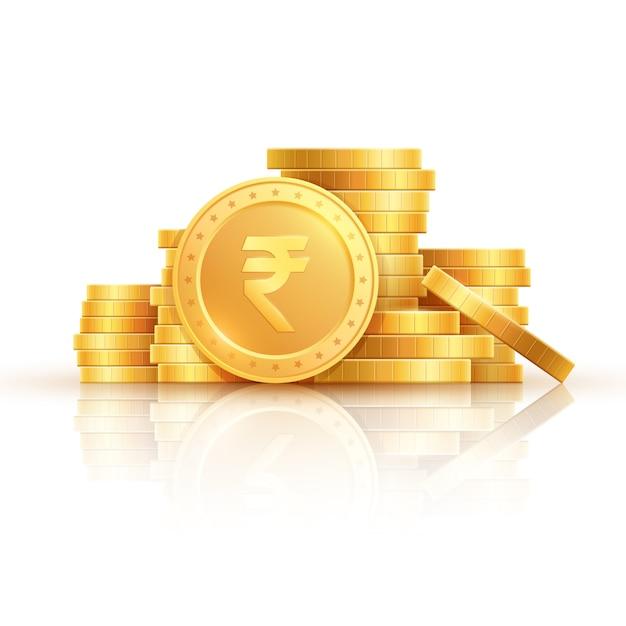 Monete d'oro della rupia. soldi indiani, monete d'oro impilate. Vettore Premium