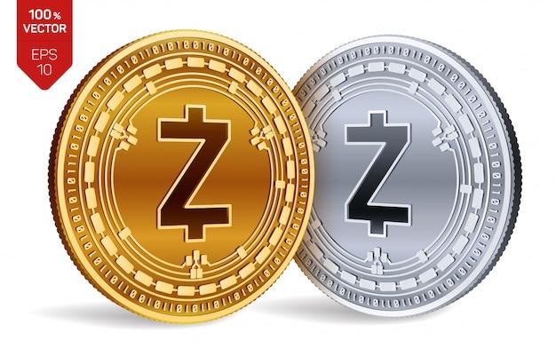 Monete d'oro e d'argento di criptovaluta con il simbolo zcash isolato su sfondo bianco. Vettore gratuito