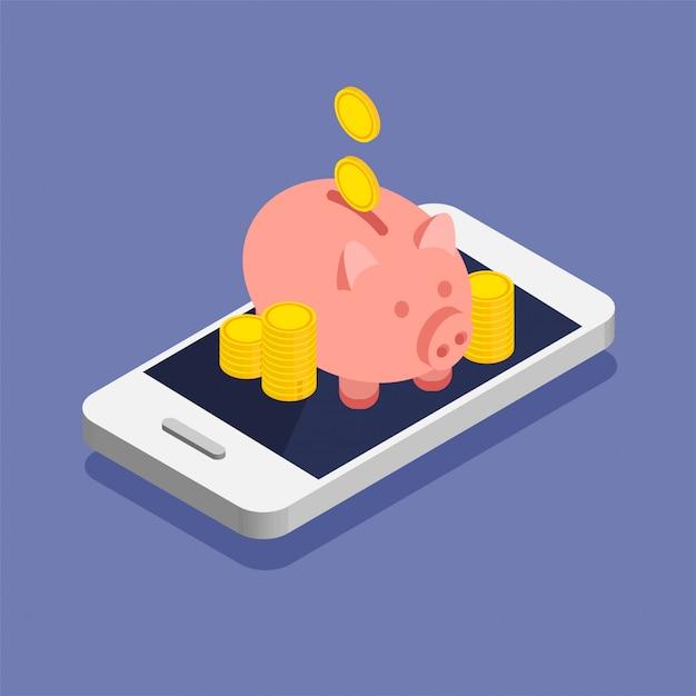 Monete d'oro e salvadanaio in uno stile isometrico alla moda. pila o mucchio di soldi su uno smartphone. deposito online nel tuo telefono. Vettore Premium