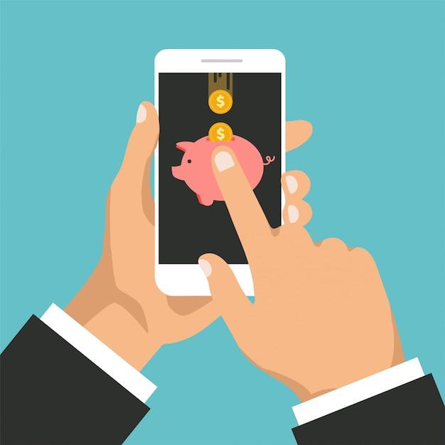 Monete d'oro e salvadanaio su un display del telefono. concetto di mobile banking. rimborso o rimborso in denaro. Vettore Premium