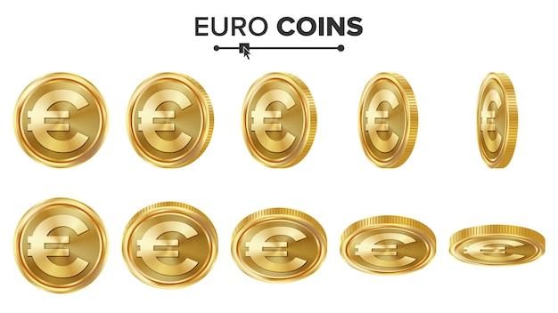 Monete d'oro euro 3d Vettore Premium