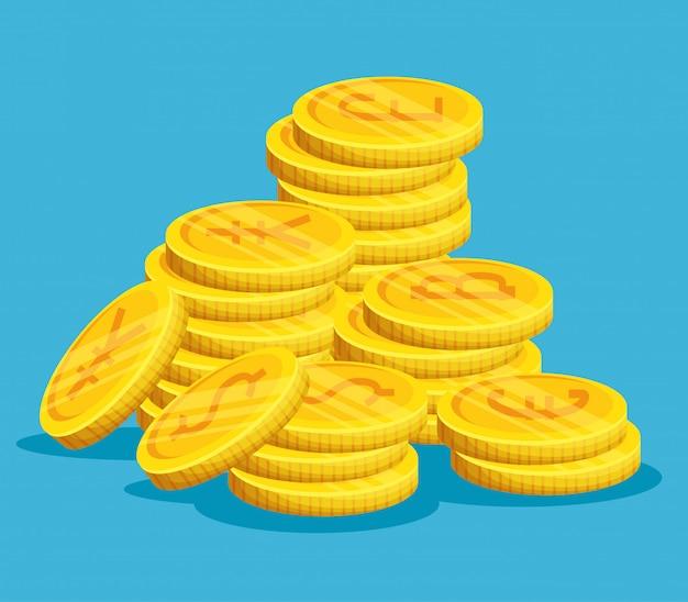 Monete d'oro impilate Vettore gratuito