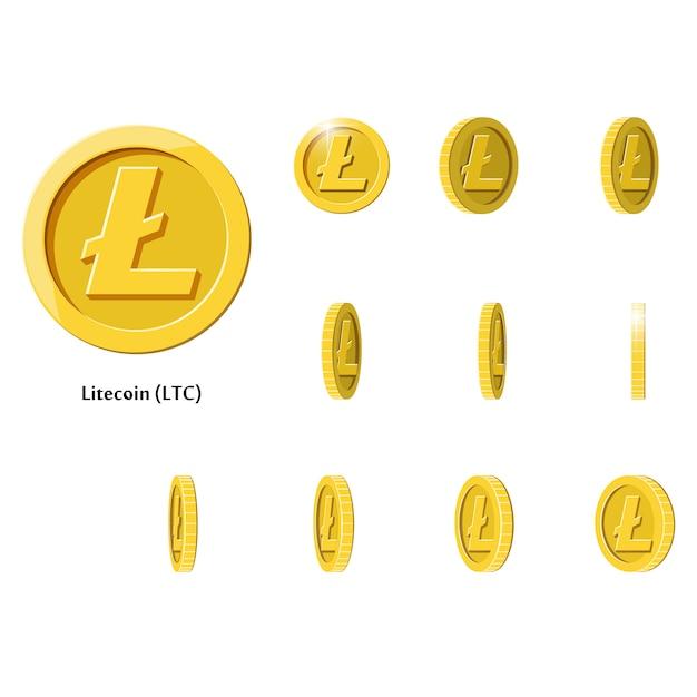 Monete d'oro ruotano litecoin Vettore Premium