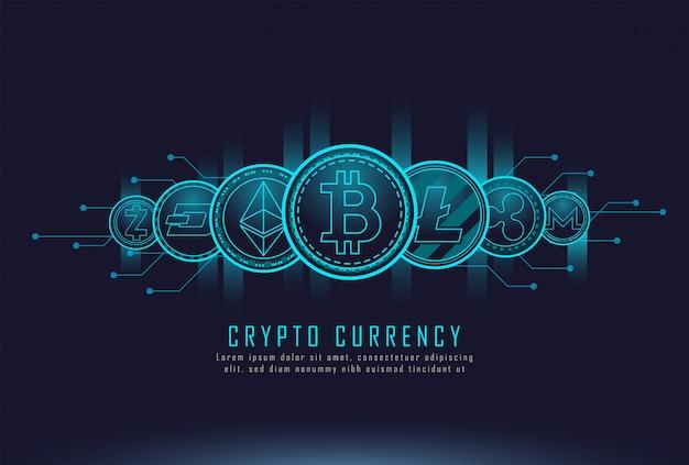 Monete di criptovaluta Vettore Premium