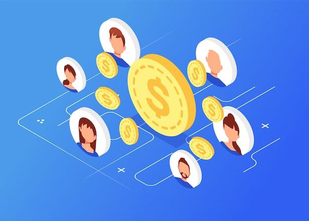 Monete isometriche con avatar, network marketing Vettore Premium