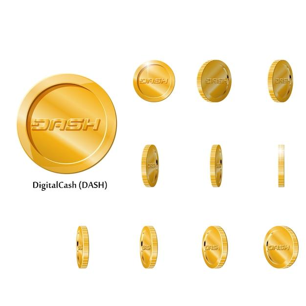 Monete rotanti in oro Vettore Premium