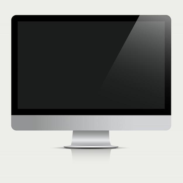 Monitor del computer con schermo nero Vettore Premium