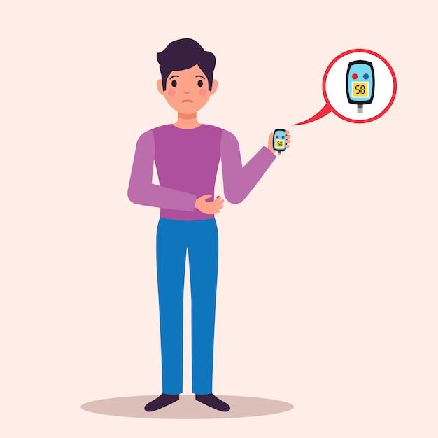 Monitor paziente del glucometro del sangue della tenuta paziente del diabete con pubblicità medica del carattere piano del risultato del test Vettore gratuito