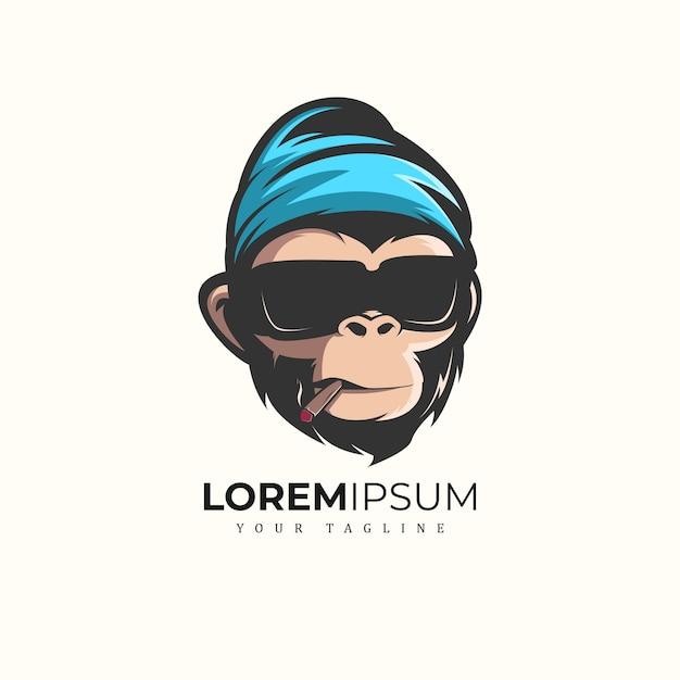 Monkey mascot logo premium Vettore Premium