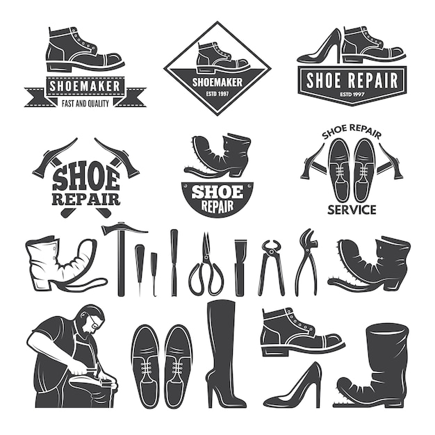 Monocromatico di vari strumenti per la riparazione di scarpe Vettore Premium