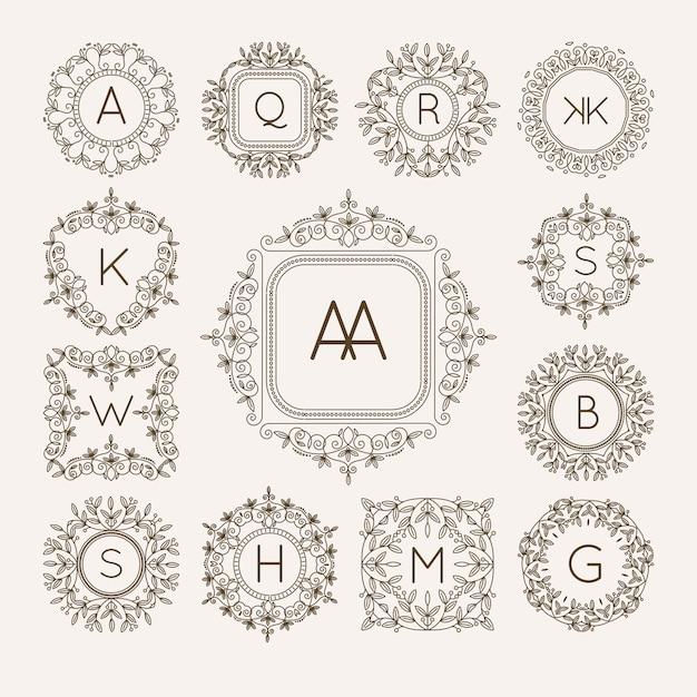 Monogram bage logo vettoriale Vettore Premium