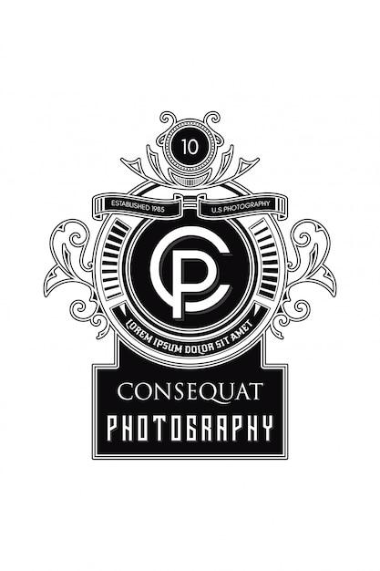 Monogram logo fotografia cp Vettore Premium