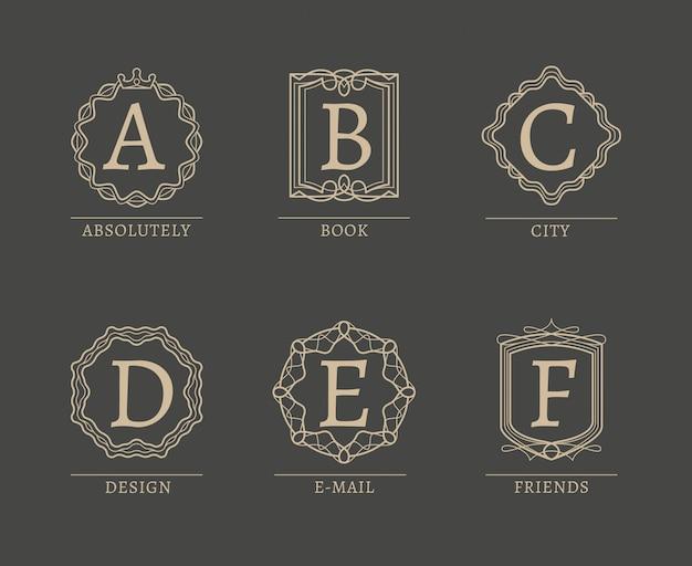 Monogram logos in stile vintage di linea alla moda Vettore Premium