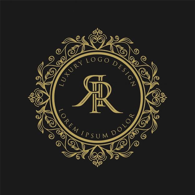 Monogramma di lusso con logo dorato Vettore Premium