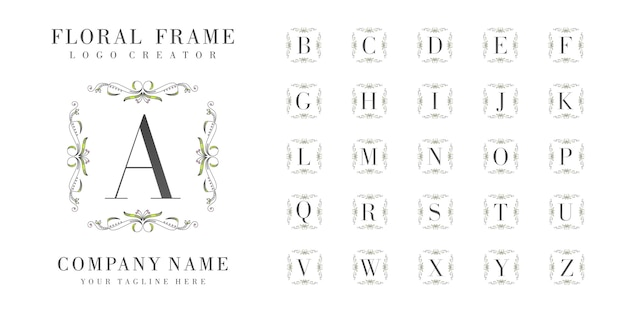 Monogramma logo iniziale con ornamenti floreali Vettore Premium