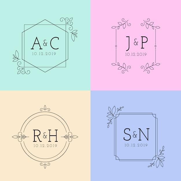 Monogrammi di matrimonio minimalista in colori pastello Vettore gratuito
