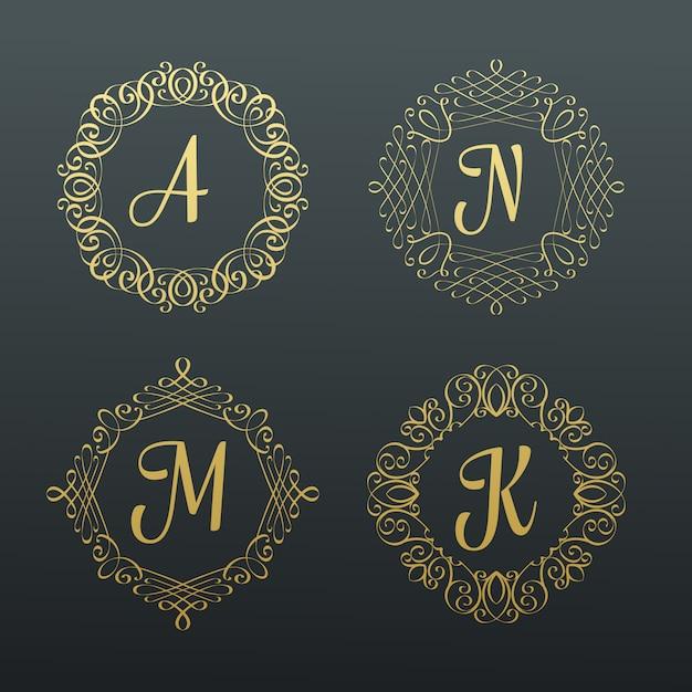 Monogrammi e bordi calligrafici. Vettore Premium