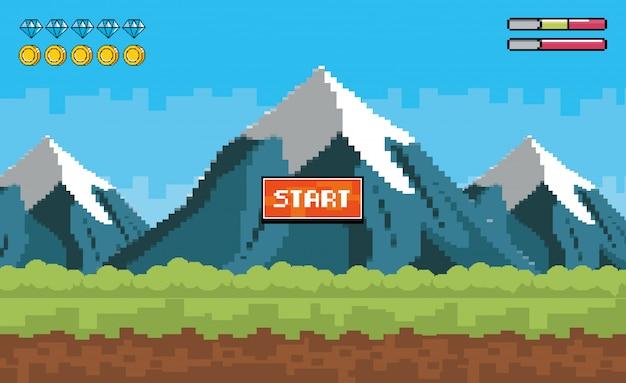 Montagne innevate con pixel e barre di monete Vettore gratuito
