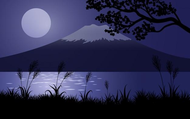 Monte fuji di notte con la luna piena Vettore Premium