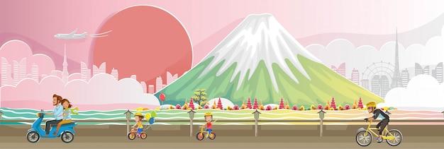 Monte fuji. paesaggio del punto di riferimento del giappone. panorama dell'edificio. scenario autunnale felice caduta di persone. Vettore Premium