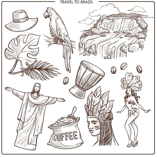 Monumenti di viaggio in brasile e famosi simboli del turismo Vettore Premium
