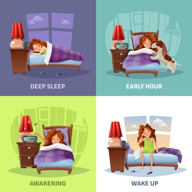 Morning awakening 2x2 design concept Vettore gratuito