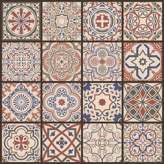Mosaico floreale senza soluzione di continuità Vettore Premium