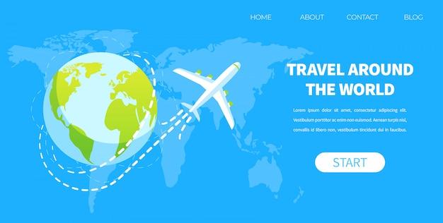Mosca dell'aeroplano intorno al concetto di vettore del globo della terra Vettore Premium