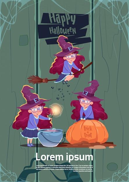 Mosca sveglia della strega sul bastone della scopa, cuoco potion in pot, concetto felice di celebrazione del partito del manifesto di halloween Vettore Premium