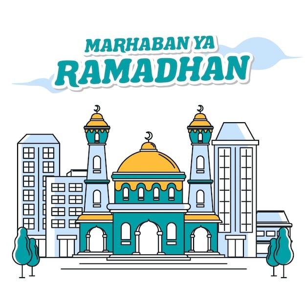 Moschea banner marhaban ya ramadhan Vettore Premium