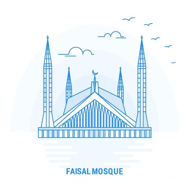 Moschea blu faisal punto di riferimento Vettore Premium