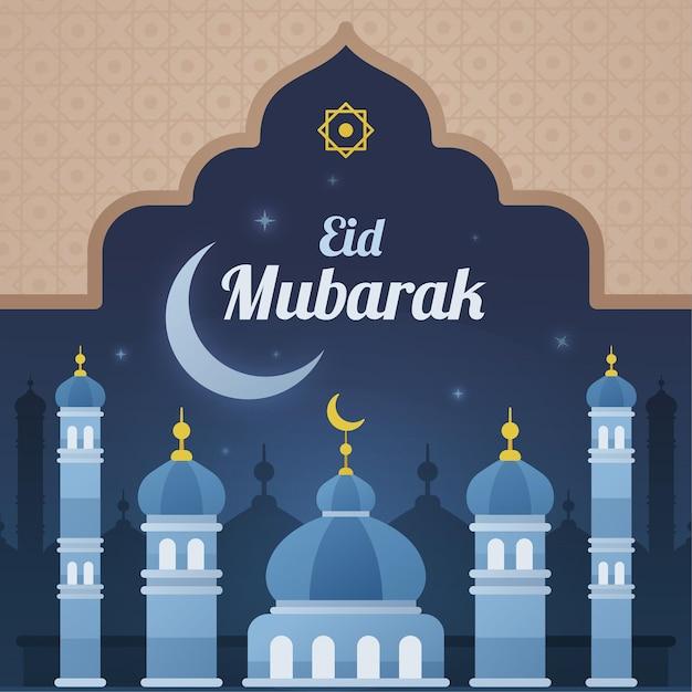 Moschea blu nella notte eid mubarak Vettore gratuito
