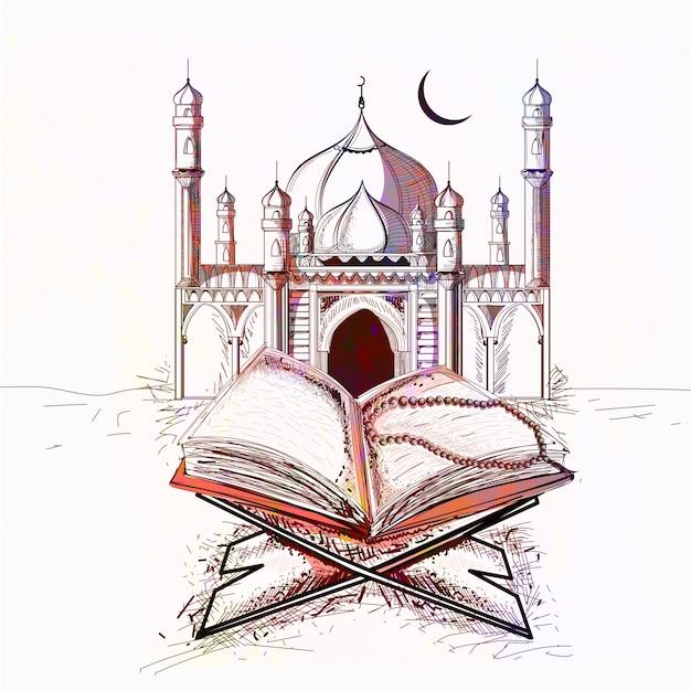 Moschea colorata con libro sacro di quran per i festeggiamenti della comunità musulmana festeggiamenti. Vettore gratuito