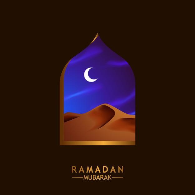 Moschea della finestra con l'illustrazione di scena del dessert del medio oriente per il ramadan mubarak kareem Vettore Premium