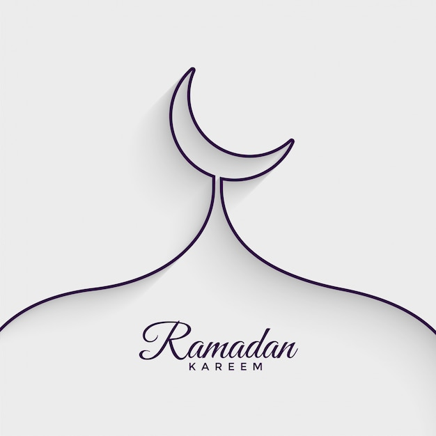 Moschea fatta con sfondo di ramadan kareem linea Vettore gratuito