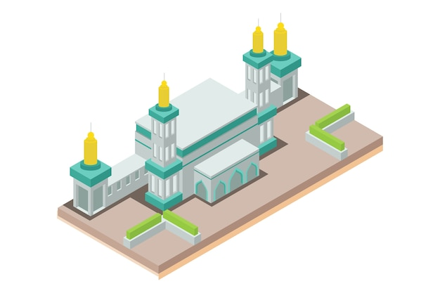 Moschea isometrica musulmani, illustrazione vettoriale Vettore Premium