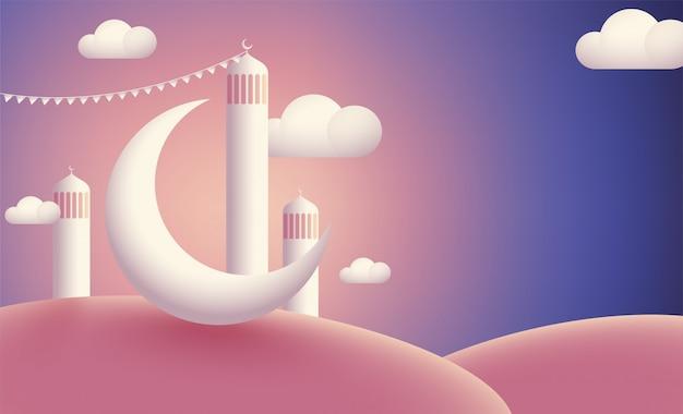 Moschea realistica con la luna cresent su fondo lucido nuvoloso. Vettore Premium