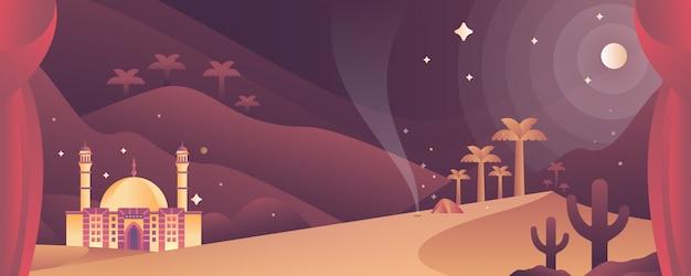 Moschea sull'illustrazione islamica del deserto Vettore Premium