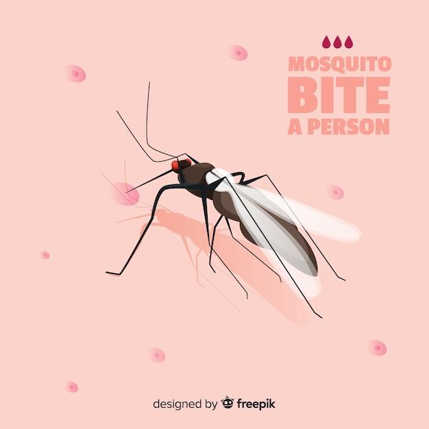Mosquito mordere una persona con design piatto Vettore gratuito