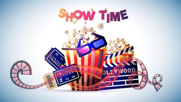 Mostra il concetto di film o cinema a tempo. Vettore Premium