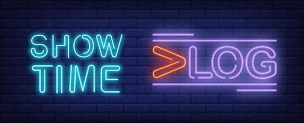 Mostra il tempo sull'insegna al neon di vlog. lettering creativo con linee aggiuntive. Vettore gratuito