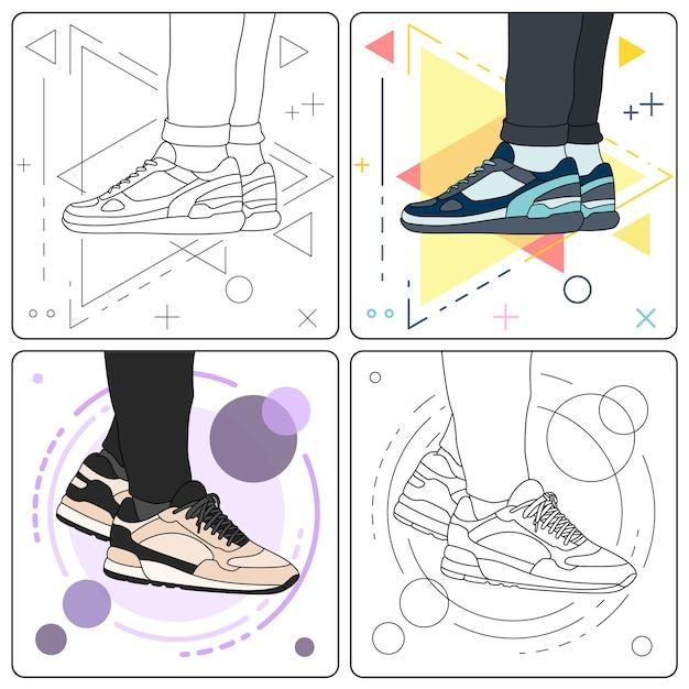 Mostra le sneakers facilmente modificabili Vettore Premium