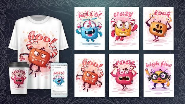 Mostri carini illustrazione e merchandising Vettore Premium