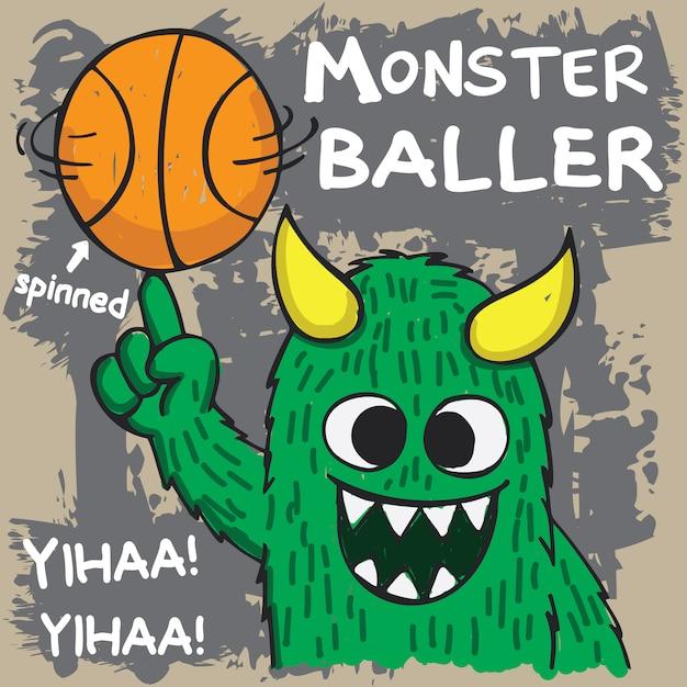 Mostro di baller basket disegnato a mano Vettore Premium