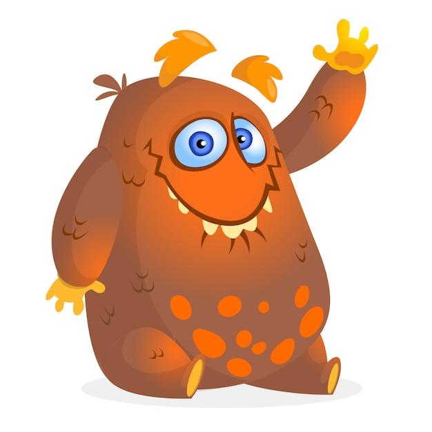 Mostro di cartone animato felice. illustrazione vettoriale per halloween Vettore Premium
