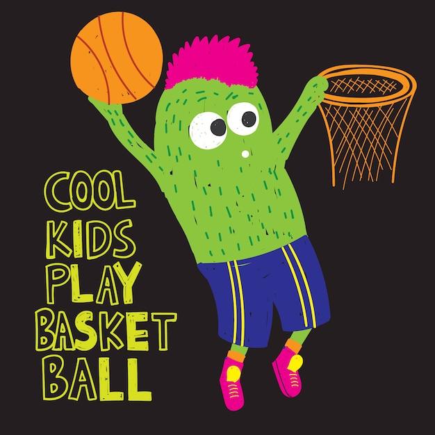 Mostro di pallacanestro disegnato a mano per maglietta Vettore Premium