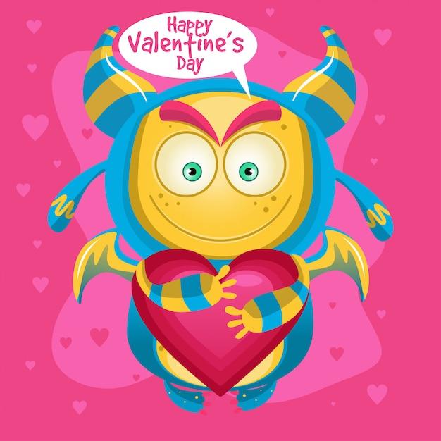 Mostro simpatico cartone animato felice san valentino Vettore Premium